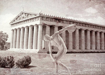 Disc Mixed Media - Classic Greek Sculptor In Front Of Parthenon by Garland Johnson