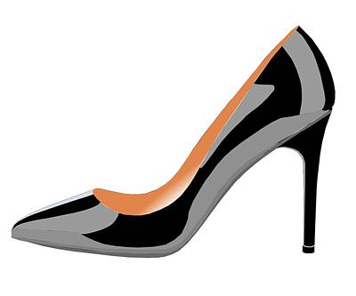 Shoe Digital Art - Classic High Heel Shoe In Black by David Smith