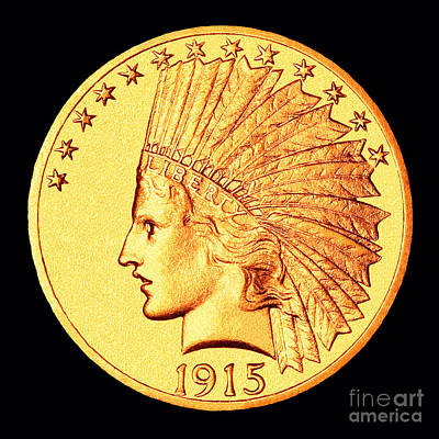 Classic Indian Head Gold Art Print by Jim Carrell