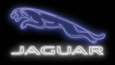 Recently Sold - Transportation Royalty-Free and Rights-Managed Images - Classic Jaguar Neon Sign by Ricky Barnard