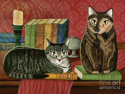 Art Print featuring the painting Classic Literary Cats by Carrie Hawks