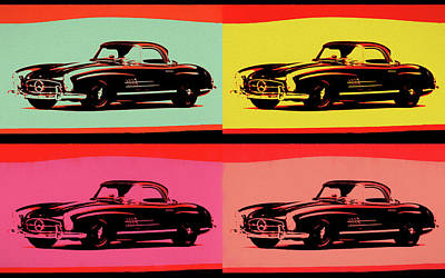 Vintage Stamps - Classic Mercedes Pop Art by Dan Sproul