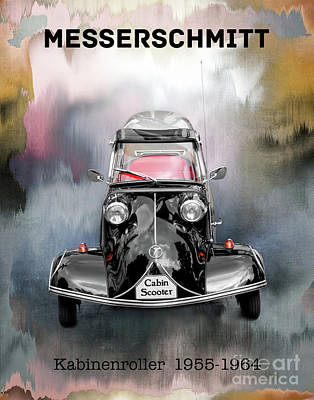 Mixed Media - Classic Messerschmitt Cabin Scooter by Gabriele Pomykaj
