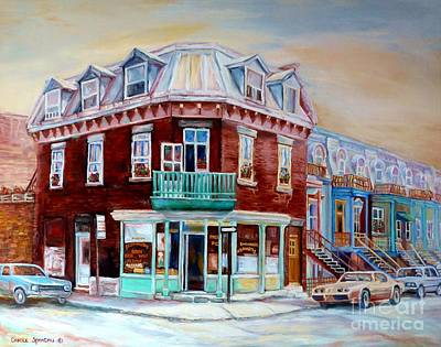 Painting - Classic Montreal Storefront Painting Peloponissos Pizza Bakery Neighborhood Memories Canadian Art  by Carole Spandau