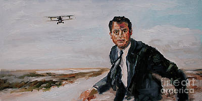 Hitchcock Film Painting - Classic Movies Cary Grant North By Northwest by Ginette Callaway