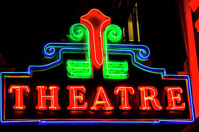 Photograph - Classic Neon Theatre Sign by Garry Gay