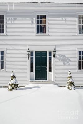 White Frame House Photograph - Classic New England Wood Framed Colonial Home In Winter by Edward Fielding