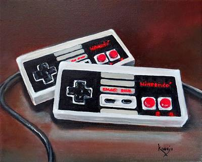 Painting - Classic Nintendo Controllers  by Wendy Winbeckler Kanojo