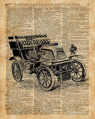 Antique Automobiles Mixed Media - Classic Old Car,vintage Vehicle,antique Machine Dictionary Art by Jacob Kuch