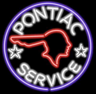 Digital Art - Classic Pontiac Neon Sign by Ricky Barnard