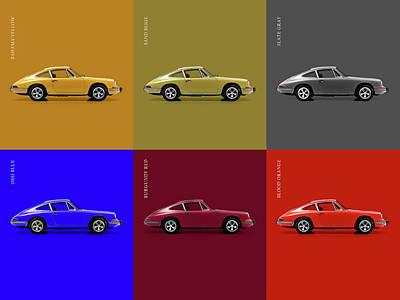 Classic Porsche 911 Colours Art Print