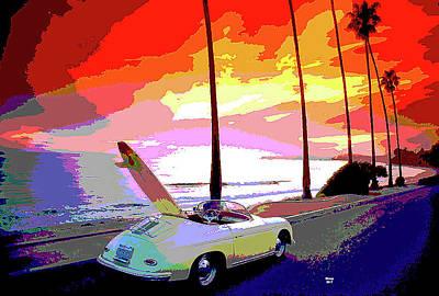 Classic Porsche Convertible  Art Print by Charles Shoup