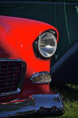 Photograph - Classic Red Chevy Headlight by Dean Ferreira