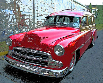 Old Woody Station Wagon Wall Art - Photograph - Classic Red Chevy Woody Station Wagon by Rebecca Korpita