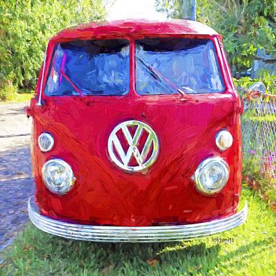 Photograph - Classic Red Vw Bus Van  by Rebecca Korpita