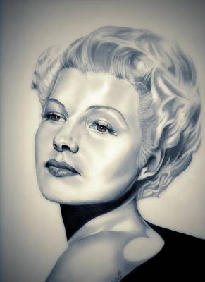 Under The Moon Wall Art - Drawing - Classic Rita Hayworth by Fred Larucci