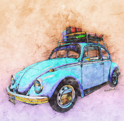 Classic Road Trip Ride Watercolour Sketch Art Print