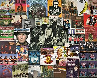 Neil Young Digital Art - Classic Rock Collage Featuring The Allman Brothers by Doug Siegel