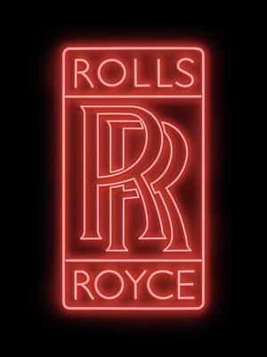 Digital Art - Classic Rolls Royce Neon Sign by Ricky Barnard