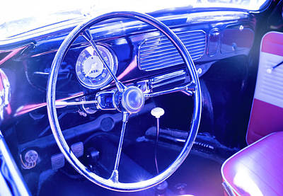 Beetle Car Interior Photograph - Classic Steering Wheel by Yves Gagnon