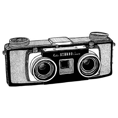 Vintage Camera Drawing - Classic Stereo Camera by Karl Addison
