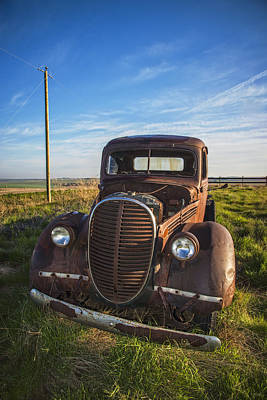 Antique Ford Truck Grill Photograph - Classic Truck On The Prairie by Bill Cubitt