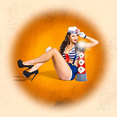Classic Vintage Sailor Pin-up On Night Watch Art Print