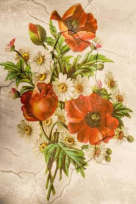 Painting - Classic Vintage Shabby Chic Rustic Poppy Bouquet by Joy of Life Art