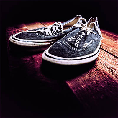 Photograph - Classic Vintage Skateboard Shoes On Wood by YoPedro