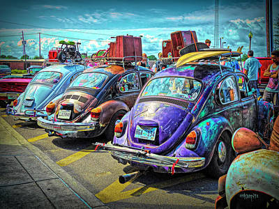 Cruising The Coast Wall Art - Digital Art - Classic Volkswagen Beetle - Old Vw Bug by Rebecca Korpita