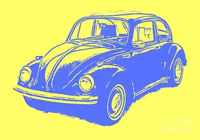 Vw Camper Van Digital Art - Classic Vw Beetle Tee Blue Ink by Edward Fielding