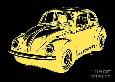 Vw Camper Van Digital Art - Classic Vw Beetle Tee Yellow Ink by Edward Fielding