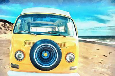 Campers Digital Art - Classic Vw Camper On The Beach by Edward Fielding