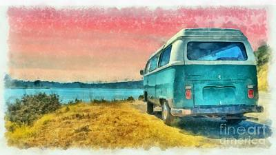 Digital Art - Classic Vw Van Surfer Bus At Sunset Watercolor by Edward Fielding