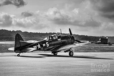 Photograph - Classic Warbird At Lunken Airport Bw by Mel Steinhauer