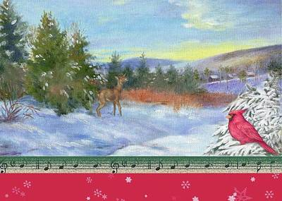 Painting - Classic Winterscape With Cardinal And Reindeer by Judith Cheng