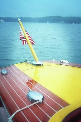 Photograph - Classic Wooden Boat Stern With Flag 2.0 by Michelle Calkins