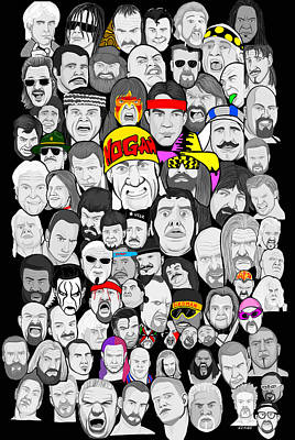 Classic Wrestling Superstars Art Print by Gary Niles