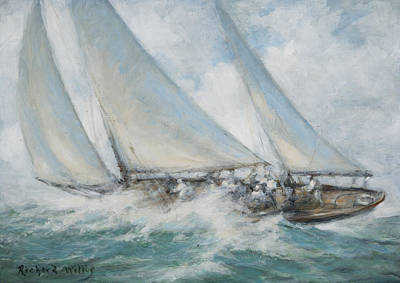 Speed Boat Painting - Classic Yacht  Twixt Wind And Water by Richard Willis