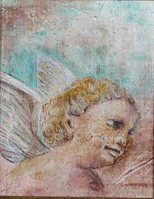 Painting - Classical Angle In The Clouds   A Nouveau-fresco Painting by Judy Loper