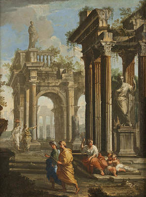 Late 18th Century Painting - Classical Buildings With Columns by Alberto Carlieri