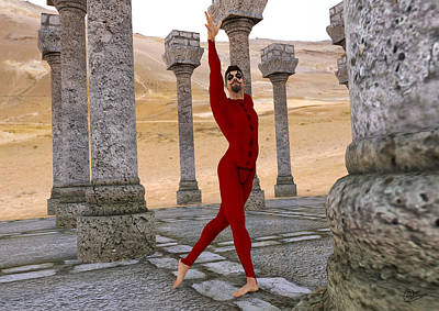 Athletic Mixed Media - Dancer In The Desert Ruins by Quim Abella