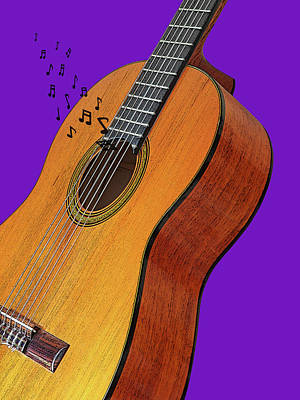 Photograph - Classical Guitar On Purple by Gill Billington