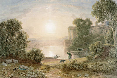 Herding Dog Painting - Classical Landscape by George the Younger Barret
