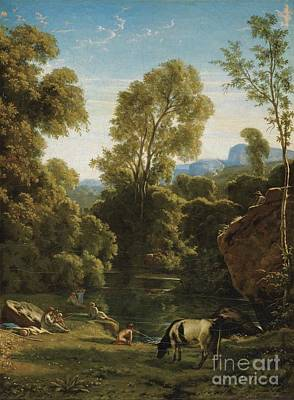 Flandrin Painting - Classical Landscape With Figures By A Lake by Celestial Images