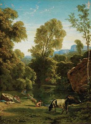 Classical Landscape With Figures By A Lake Art Print