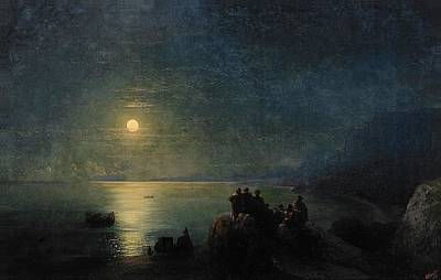 Sailing At Night Painting - Classical Poets By The Water's Edge In The Moonlight In Ancient Greece,  1886 by Ivan Konstantinovich Aivazovsky
