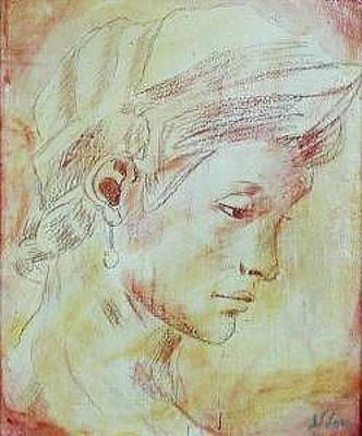 Painting - Classical Portrait   Inspired By Michelangelo  by Judy Loper