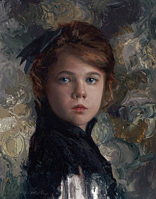 Portraits Royalty-Free and Rights-Managed Images - Classical Portrait of Young Girl in Victorian Dress by Karen Whitworth