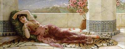 Emile Painting - Classical Reclining Girl  by Emile Eismann Semenowski